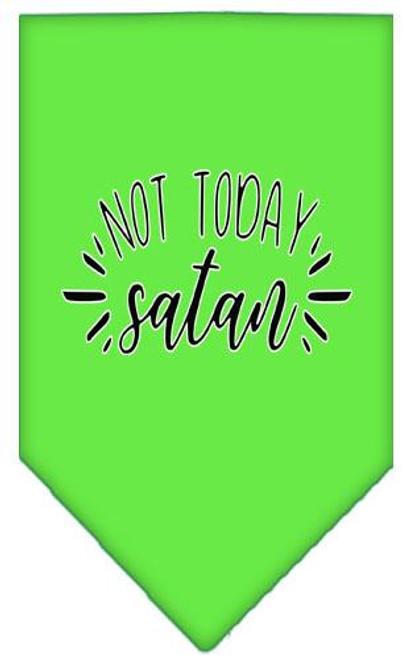 Not Today Satan Screen Print Bandana Lime Green Large