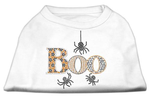 Boo Rhinestone Dog Shirt White Sm (10)