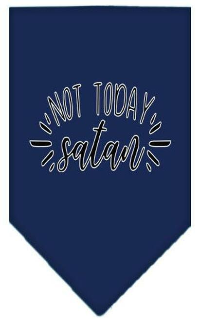 Not Today Satan Screen Print Bandana Navy Blue Large
