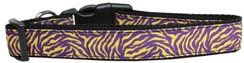 Purple And Yellow Tiger Stripes Nylon Dog Collar Medium