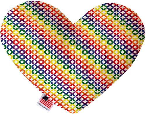 Rainbow Bright Diamonds 6 Inch Heart Dog Toy