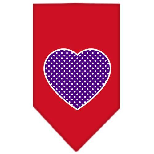 Purple Swiss Dot Heart Screen Print Bandana Red Large