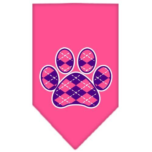 Argyle Paw Purple Screen Print Bandana Bright Pink Large