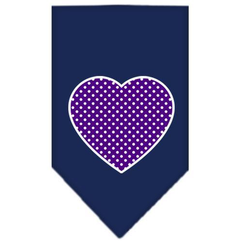 Purple Swiss Dot Heart Screen Print Bandana Navy Blue Large