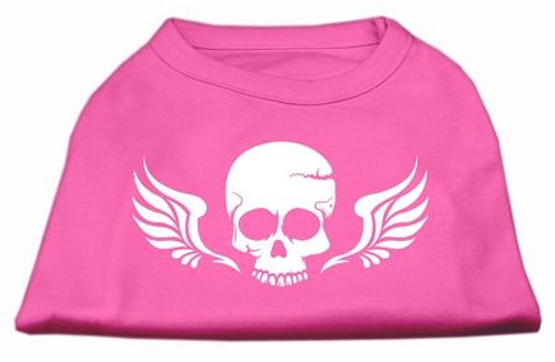 Skull Wings Screen Print Shirt Bright Pink Lg (14)