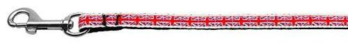 Tiled Union Jack(uk Flag) Nylon Ribbon Leash 3/8 Inch Wide 4ft Long