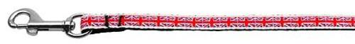 Tiled Union Jack(uk Flag) Nylon Ribbon Leash 3/8 Wide 6ft Long