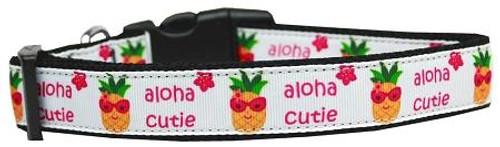 Aloha Cutie Nylon Dog Collar Medium