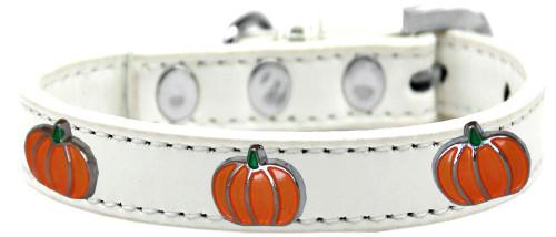 Pumpkin Widget Dog Collar White Size 16