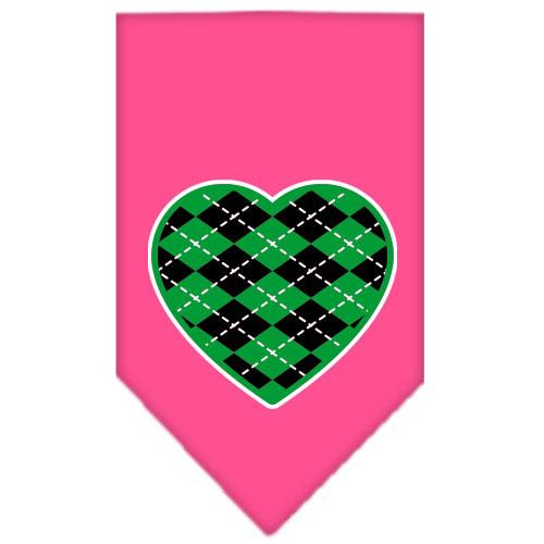 Argyle Heart Green Screen Print Bandana Bright Pink Large