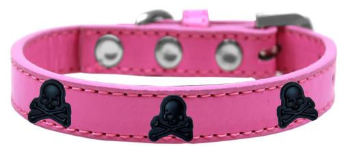Skull Widget Dog Collar Bright Pink Size 16