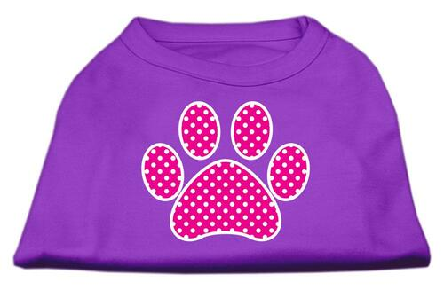 Pink Swiss Dot Paw Screen Print Shirt Purple Xs (8)