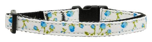 Roses Nylon Ribbon Collar Blue Cat Safety - 125-020 CTBL
