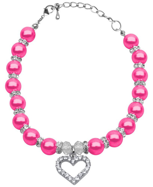 Heart And Pearl Necklace Bright Pink Sm (6-8)