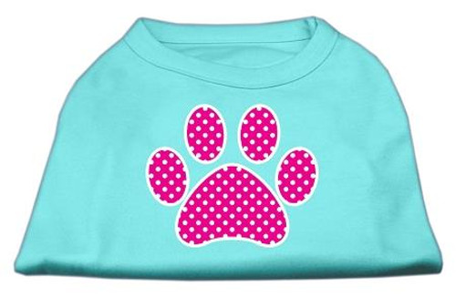 Pink Swiss Dot Paw Screen Print Shirt Aqua Xs (8)
