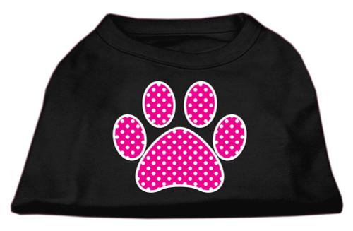 Pink Swiss Dot Paw Screen Print Shirt Black Xs (8)