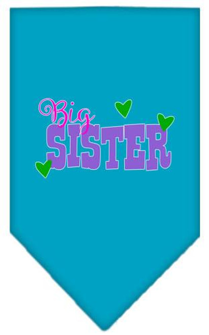 Big Sister Screen Print Bandana Turquoise Large
