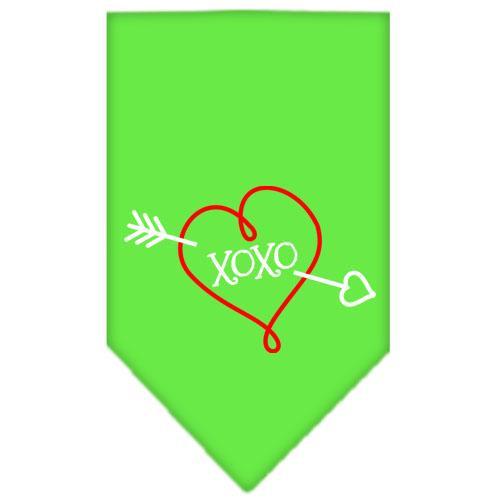 Xoxo Screen Print Bandana Lime Green Small