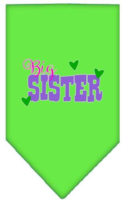 Big Sister Screen Print Bandana Lime Green Large