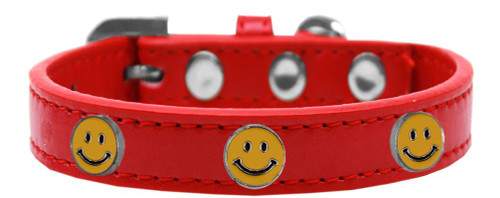 Happy Face Widget Dog Collar Red Size 14