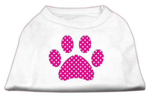 Pink Swiss Dot Paw Screen Print Shirt White Xs (8)