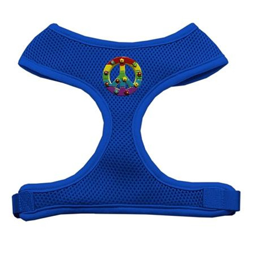 Rainbow Peace Sign Chipper Blue Harness Large