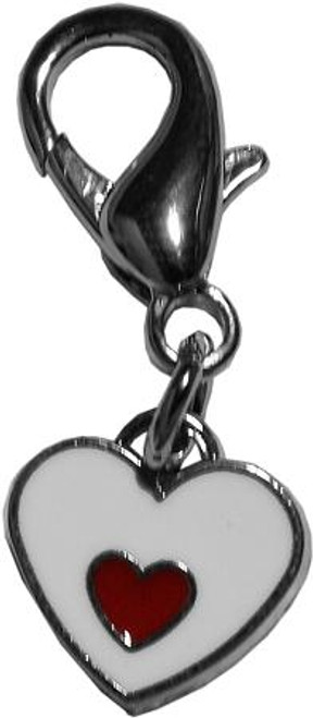 Red And White Enamel Hearts Lobster Claw Charm