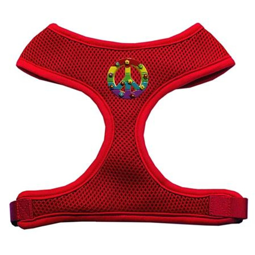 Rainbow Peace Sign Chipper Red Harness Large