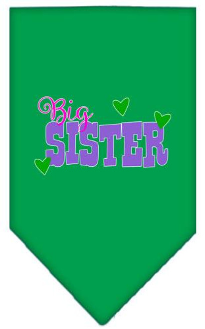 Big Sister Screen Print Bandana Emerald Green Large
