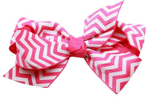 Hair Bow Chevron Alligator Clip Bright Pink