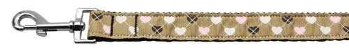 Argyle Hearts Nylon Ribbon Leash Tan 1 Inch Wide 4ft Long
