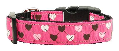 Argyle Hearts Nylon Ribbon Collar Bright Pink Large