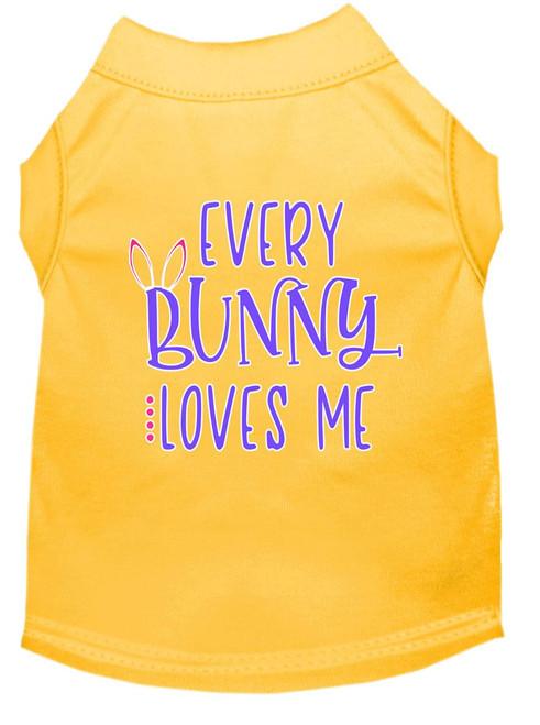 Every Bunny Loves Me Screen Print Dog Shirt Yellow Xs (8)