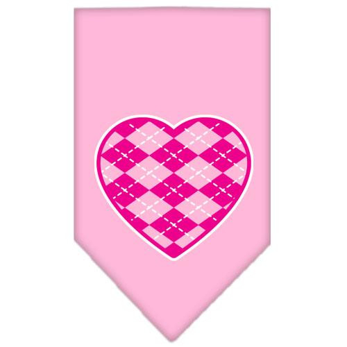 Argyle Heart Pink Screen Print Bandana Light Pink Small