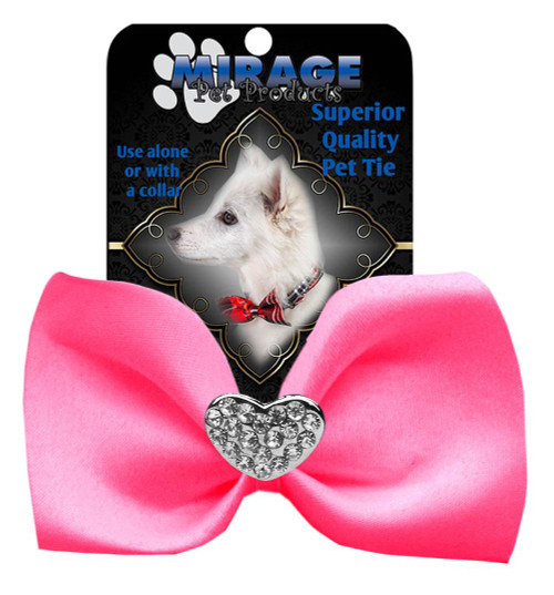 Crystal Heart Widget Pet Bowtie Hot Pink