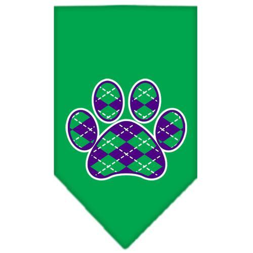Argyle Paw Purple Screen Print Bandana Emerald Green Small