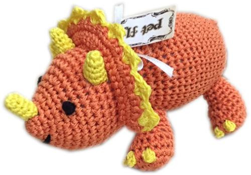 Knit Knacks Bop The Triceratops Organic Cotton Small Dog Toy