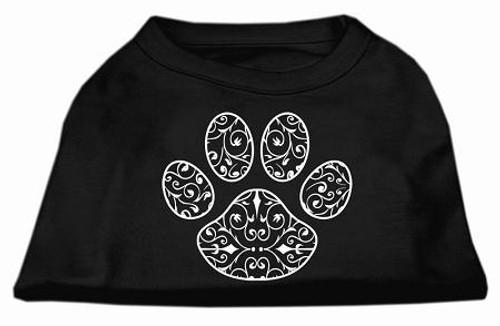 Henna Paw Screen Print Shirt Black Med (12)