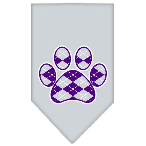Argyle Paw Purple Screen Print Bandana Grey Small
