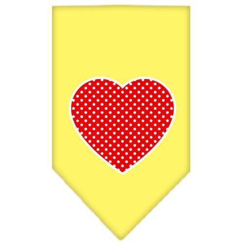 Red Swiss Dot Heart Screen Print Bandana Yellow Small