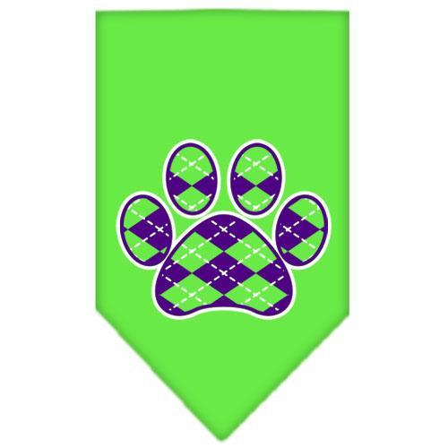 Argyle Paw Purple Screen Print Bandana Lime Green Small
