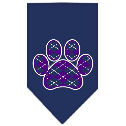 Argyle Paw Purple Screen Print Bandana Navy Blue Small