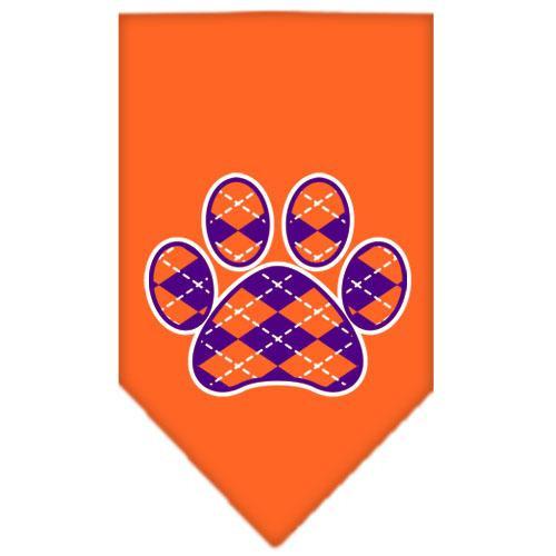 Argyle Paw Purple Screen Print Bandana Orange Small