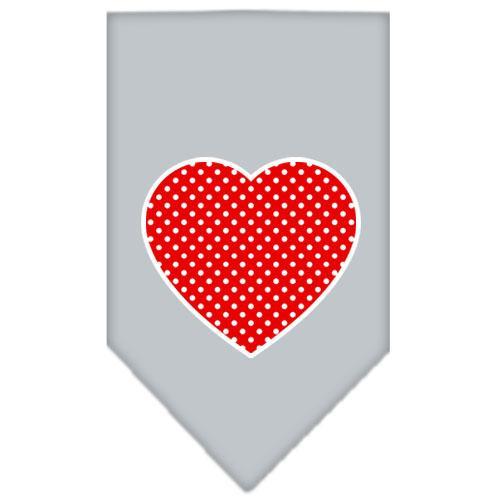 Red Swiss Dot Heart Screen Print Bandana Grey Small