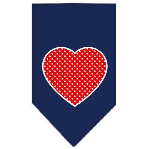 Red Swiss Dot Heart Screen Print Bandana Navy Blue Small
