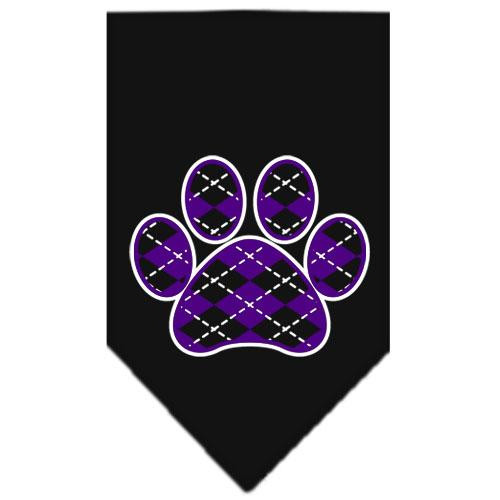Argyle Paw Purple Screen Print Bandana Black Small