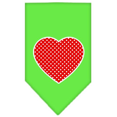 Red Swiss Dot Heart Screen Print Bandana Lime Green Small