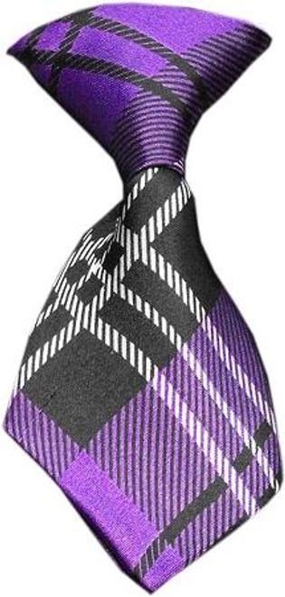 Dog Neck Tie Plaid Purple
