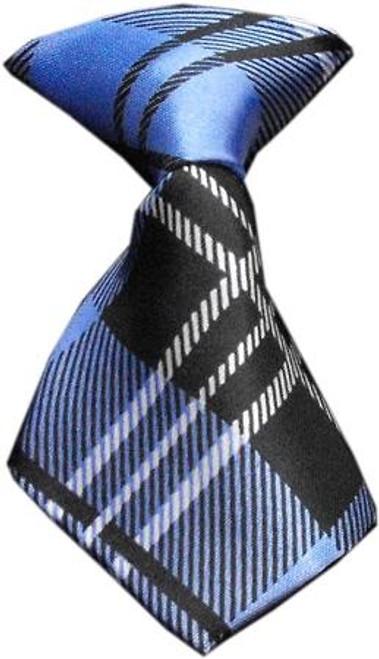 Dog Neck Tie Plaid Blue