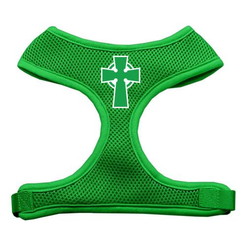 Celtic Cross Screen Print Soft Mesh Harness Emerald Green Small